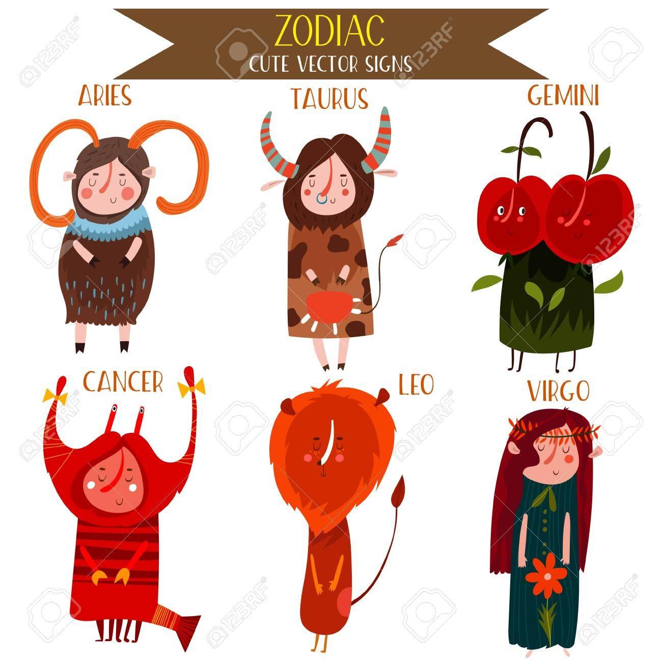 Cute Vector Set Of Zodiac Signs Part 1 Aries Taurus Gemini