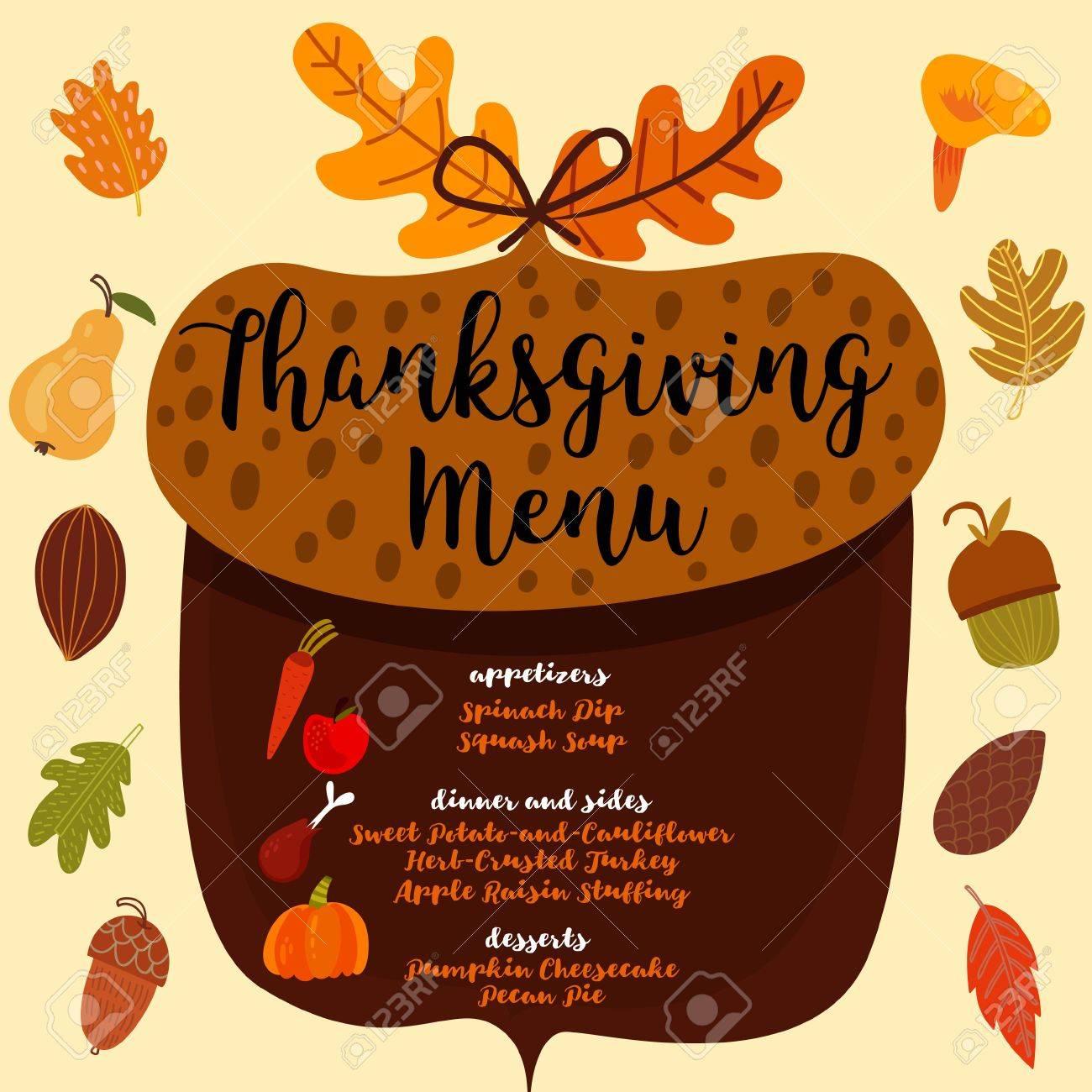 Menú De Acción De Gracias Diseño De Invitación A Una Cena De