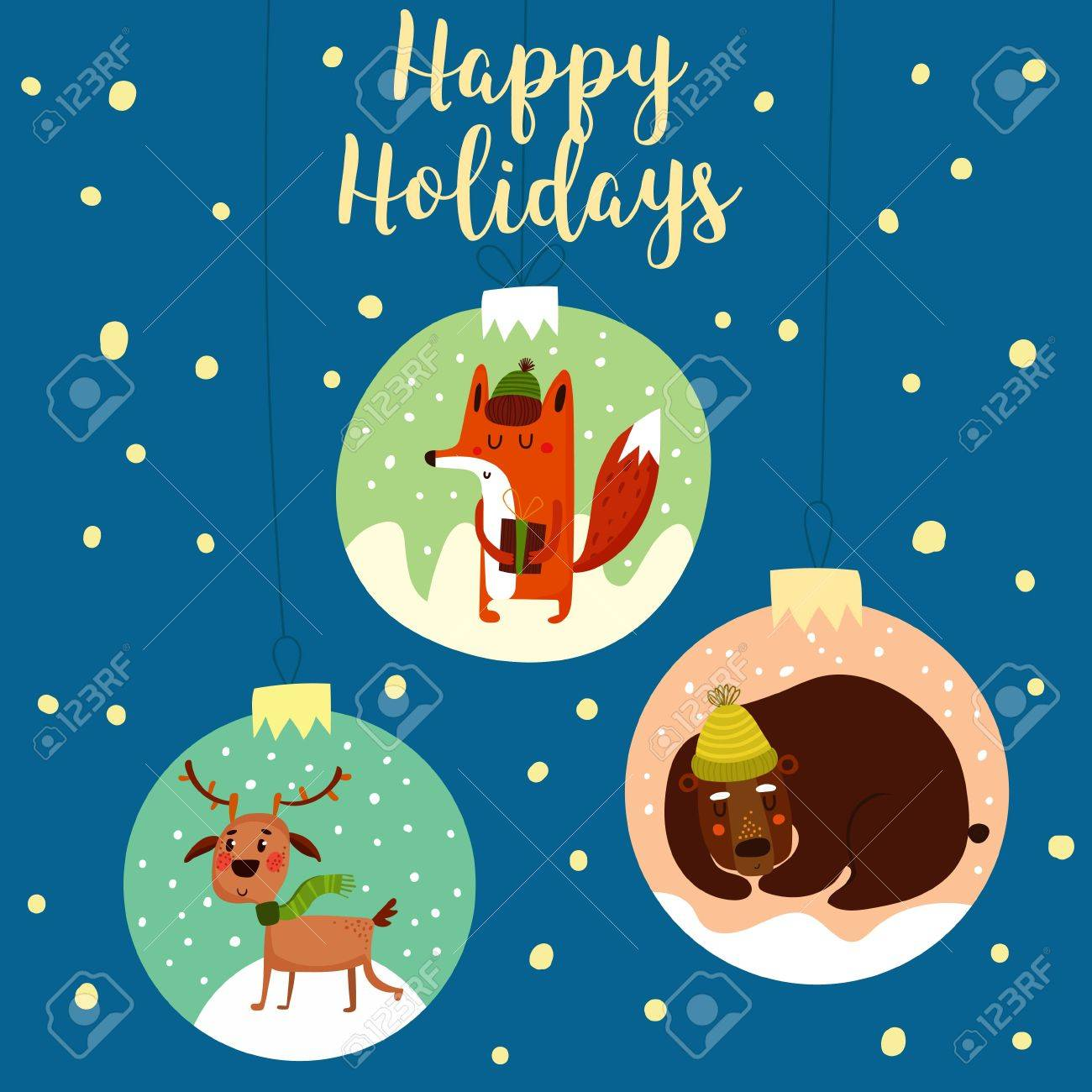 e79c474d8070f Bright cartoon background with holiday decoration.- stock vector. Funny  Merry Christmas card.Stylish holiday card with cute fox