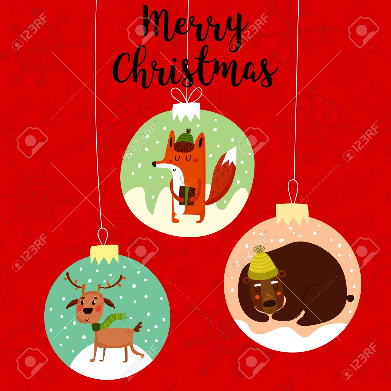 Funny Merry Christmas.Funny Merry Christmas Card Stylish Holiday Card With Cute Fox Deer
