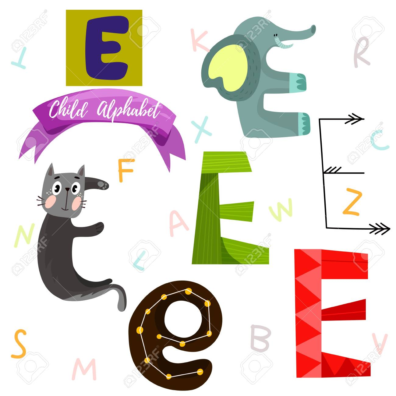 E Letter Stylish 6 Hand Drawn Letters In Different