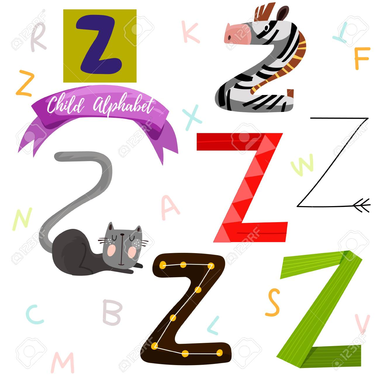 Bright Alphabet Set In VectorZ Letter Stylish 6 Hand Drawn Letters Different