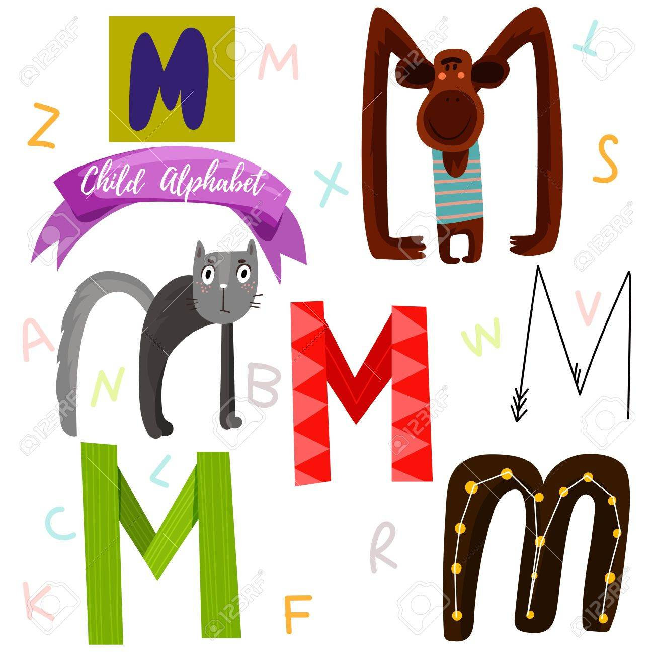 Bright Alphabet Set In VectorM Letter Stylish 6 Hand Drawn Letters Different