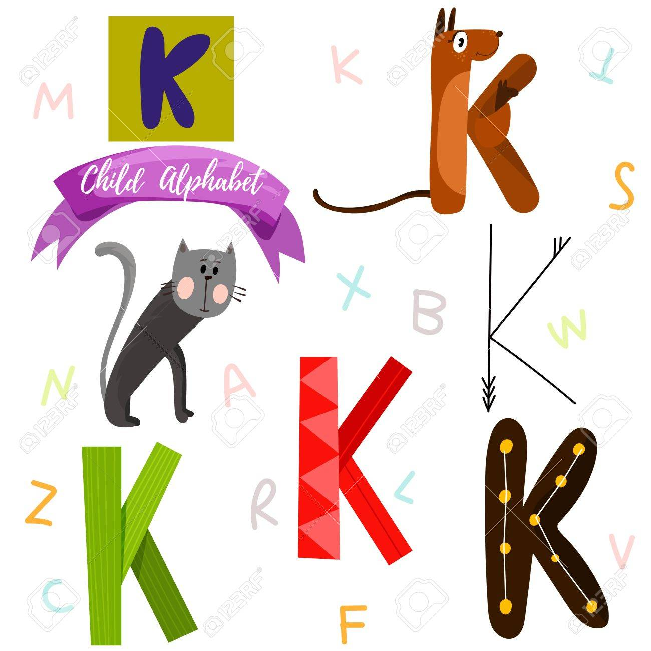 K Letter Stylish 6 Hand Drawn Letters In Different