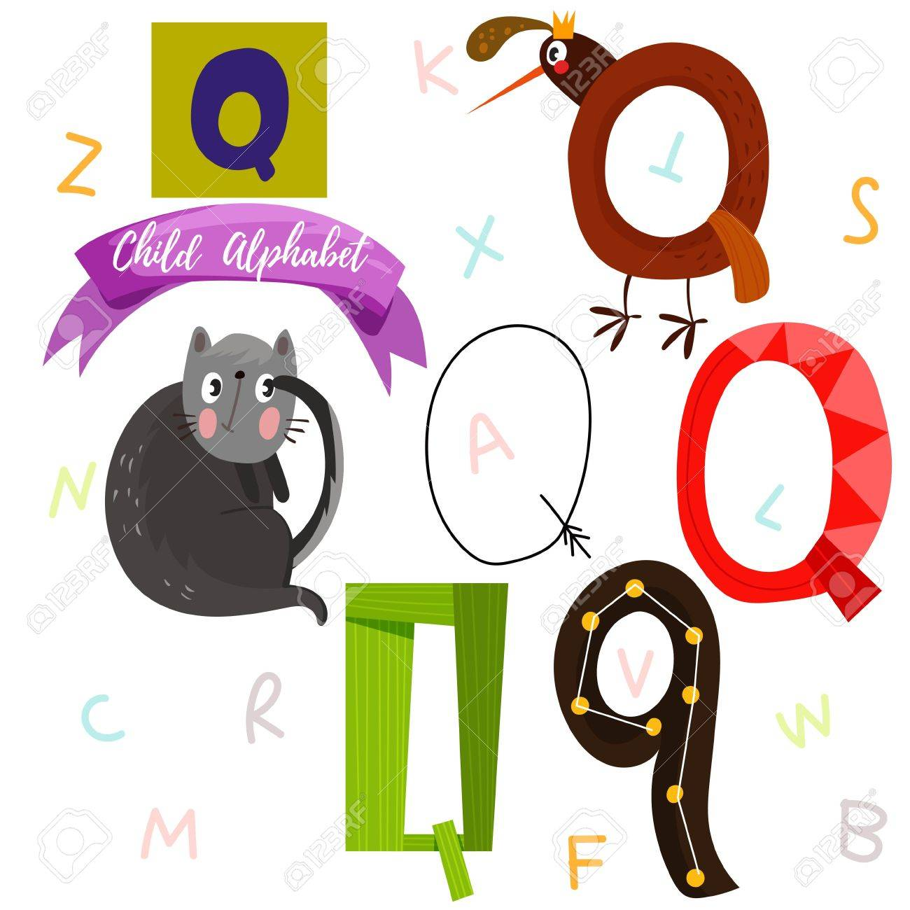 Q Letter Stylish 6 Hand Drawn Letters In Different