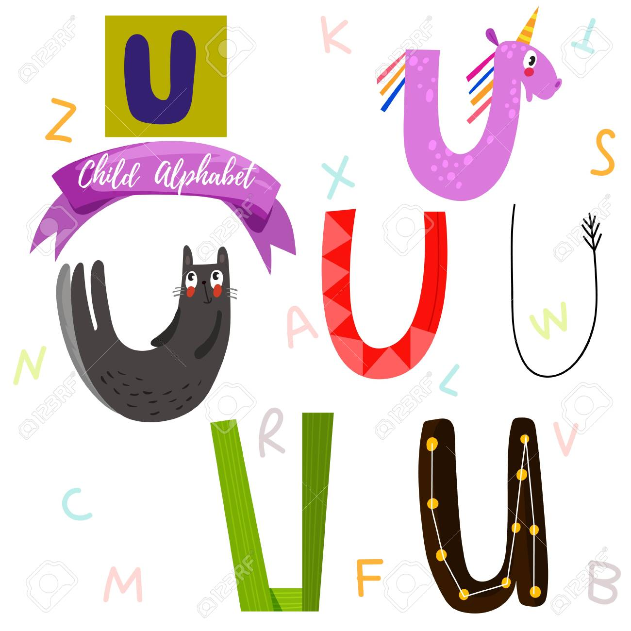 Bright Alphabet Set In VectorU Letter Stylish 6 Hand Drawn Letters Different
