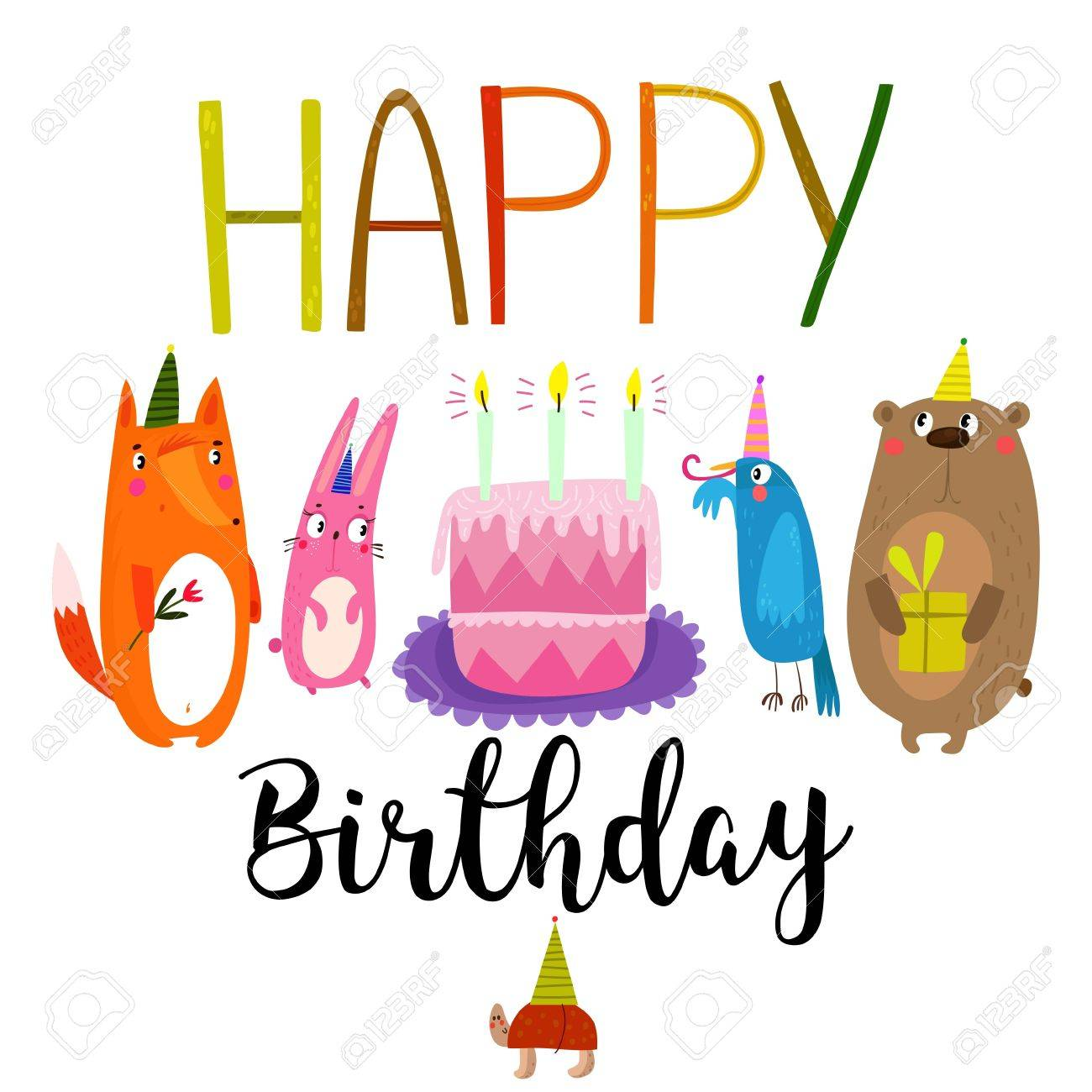 Vector happy birthday card with cute rabbit bird turtle fox vector vector happy birthday card with cute rabbit bird turtle fox and bear birthday greeting card design can be used also as background poster m4hsunfo