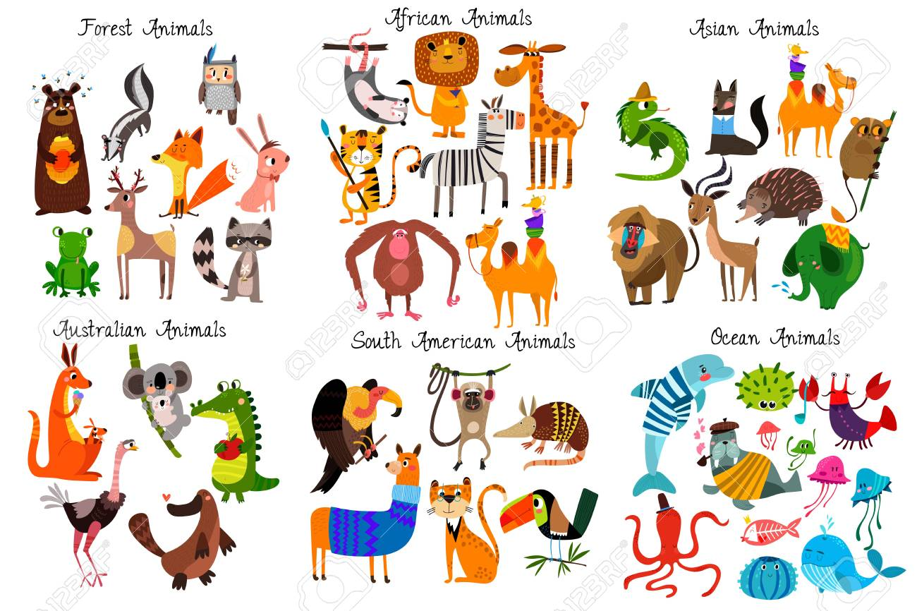 Big collection of cute cartoon animals from different continents: Forest,Australian, African ,South american animals,Ocean animals and Asian animals. Vector illustration isolated on white - 97070800