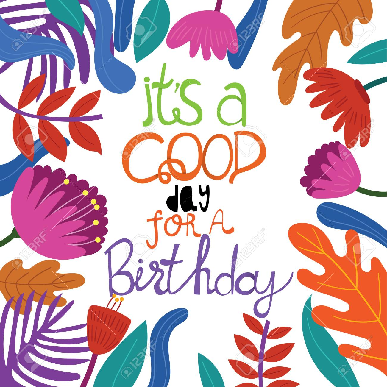 Colorful Happy Birthday Card Greeting In A Flat Style Vector Illustration Standard
