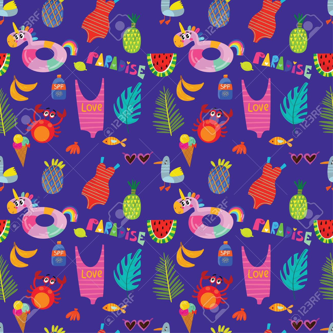 230a2cbc8600 Colorful seamless summer pattern with hand drawn elements -sunglasses