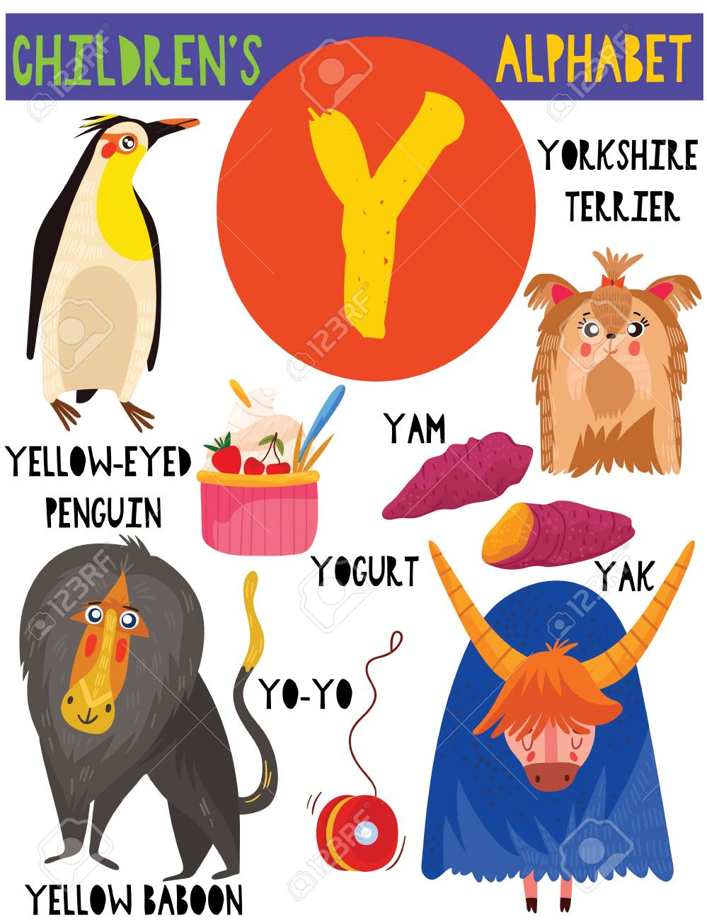 Letter Y Cute Children S Alphabet With Adorable Animals And Other Royalty Free Cliparts Vectors And Stock Illustration Image 112754833