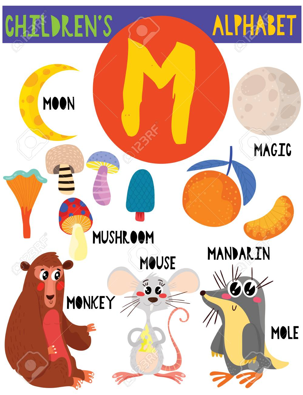 Letter M.Cute Children's Alphabet With Adorable Animals And Other