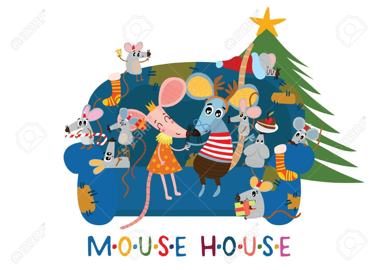 New Year And Christmas Card With Cute Mouses Family Cartoon Royalty Free Cliparts Vectors And Stock Illustration Image 135611509
