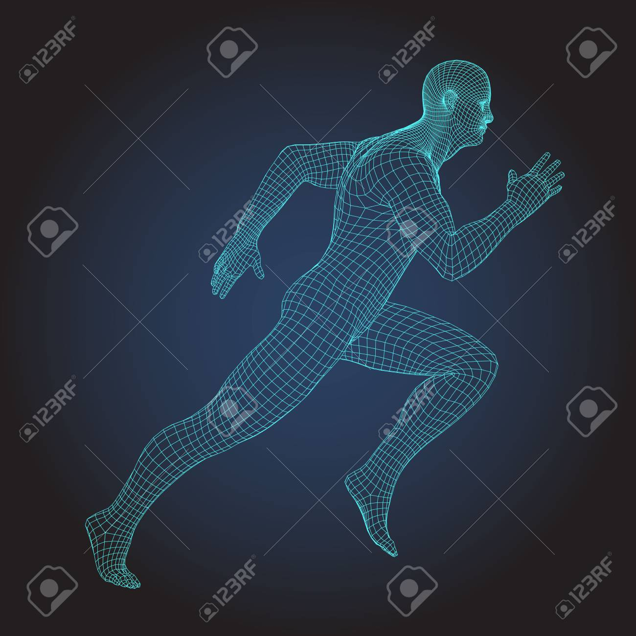 Wire Frame Human Full Body In Virtual Reality Medical Blue Print