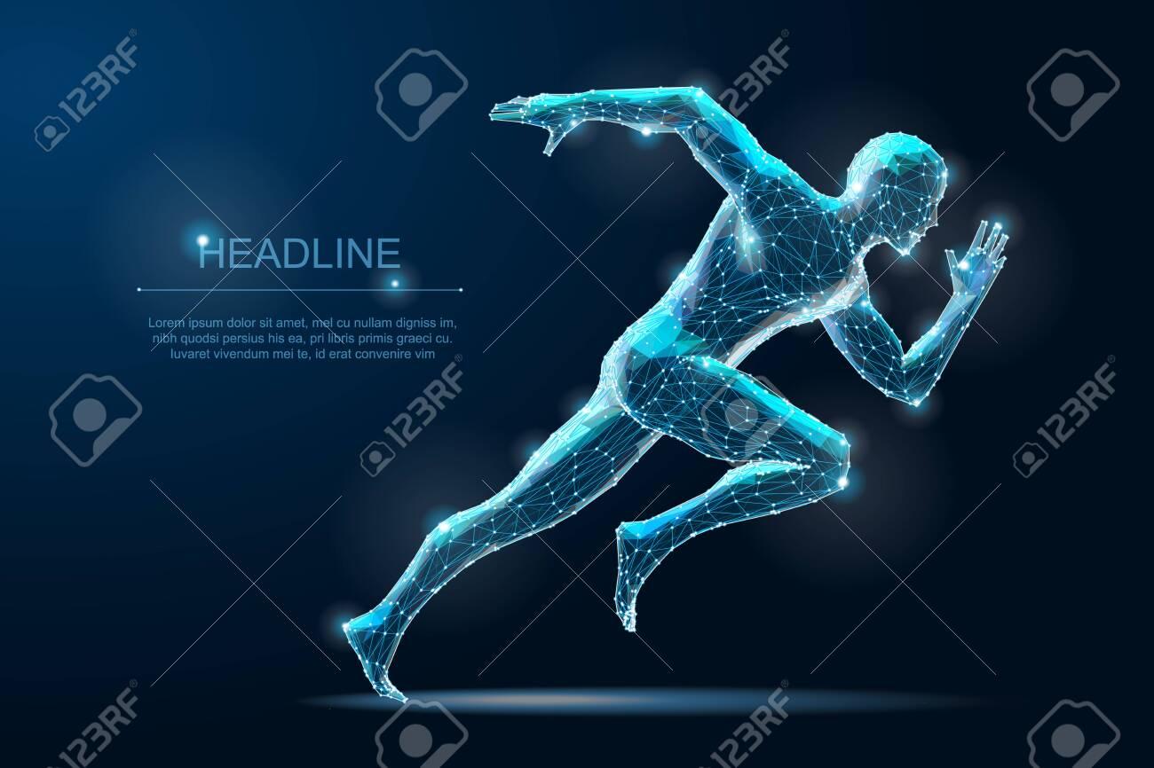 Geometric running man plygonal 3d Wireframe. Speed sport - 133997764