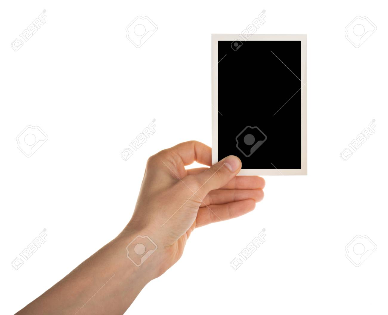 hand holding photo frame isolated on white with clipping path - 120539346