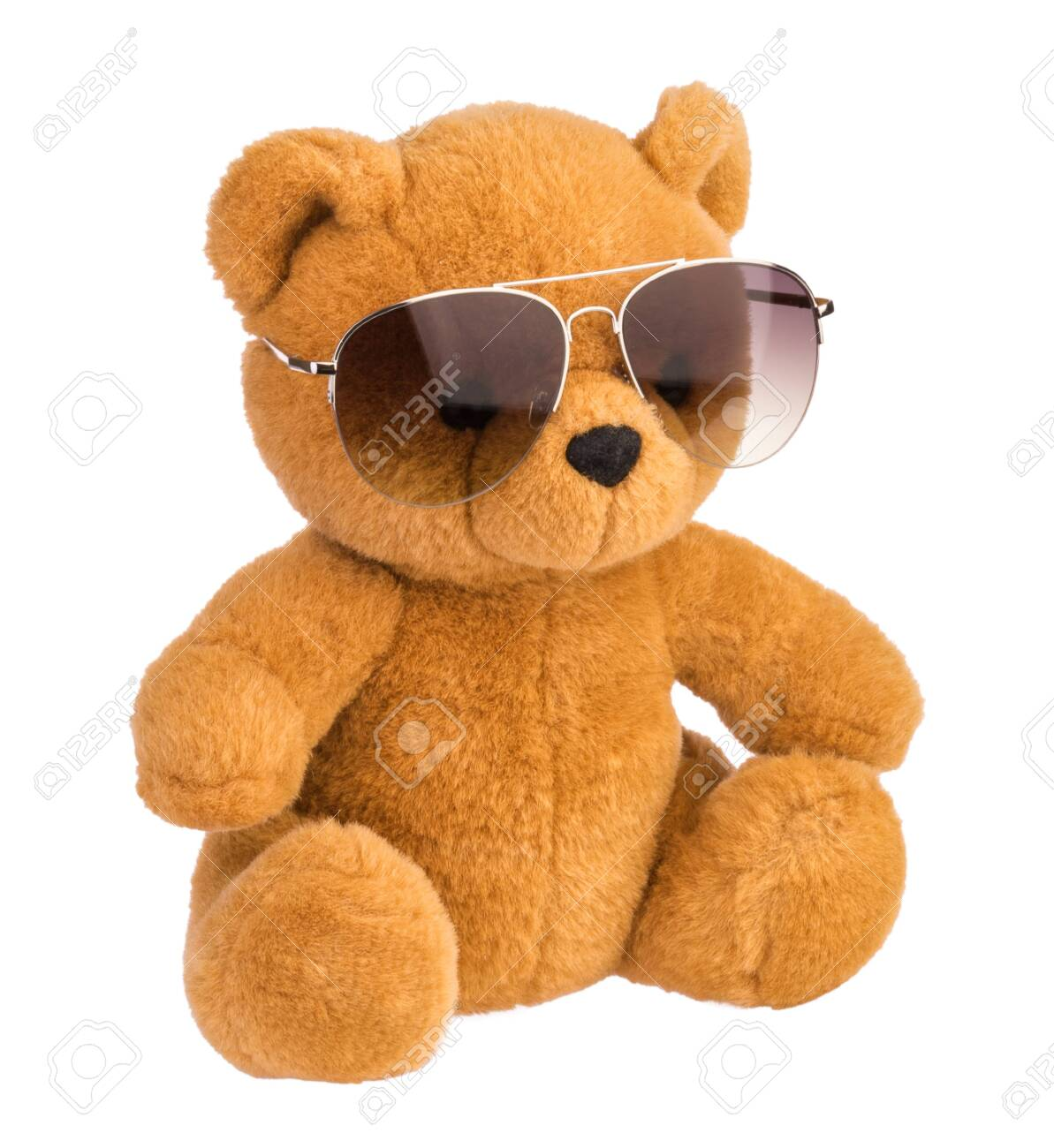 toy bear wearing sunglasses isolated clipping path - 125405658