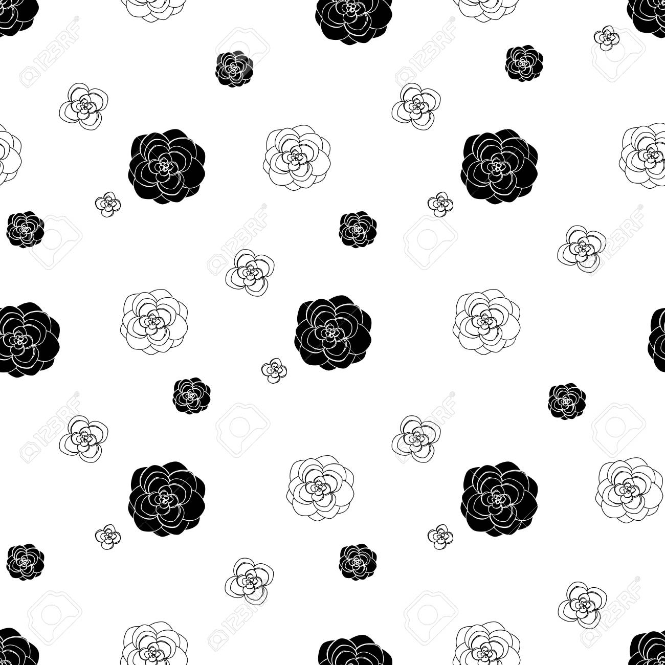 Pattern With Beautiful Flowers And Succulents In Black And White
