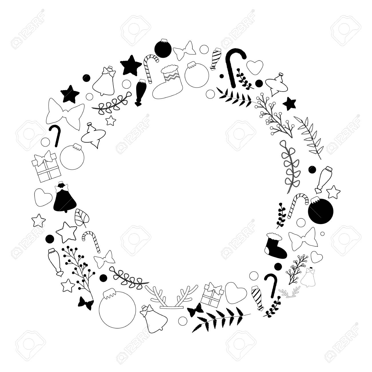 Beautiful Vector Christmas Wreath In Black And White Color Palette With Traditional Things Sweets