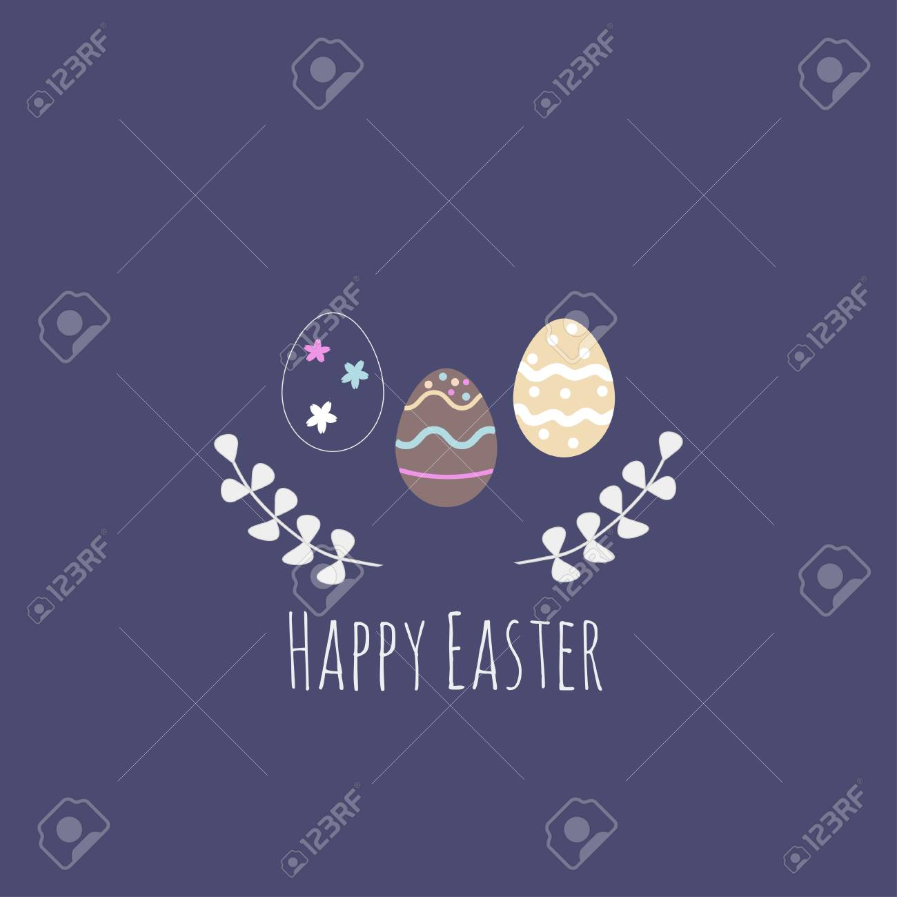 Vector Illustration With Easter Eggs On Navy Blue Background