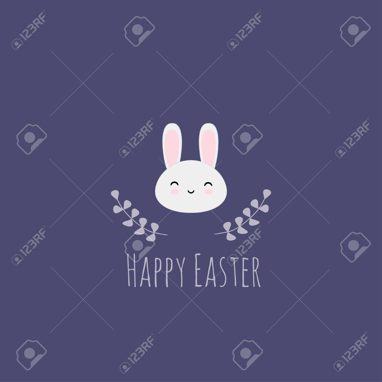 Vector Illustration With Easter Rabbit On Navy Blue Background