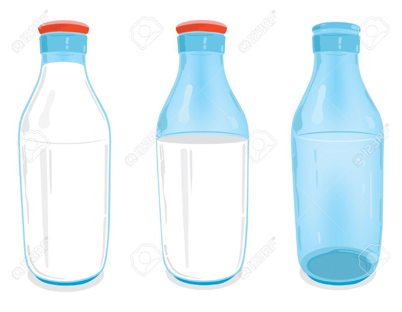 One empty glass milk bottle, one half full glass milk bottle with red bottle cap and one full glass milk bottle with red bottle cap. - 5460811