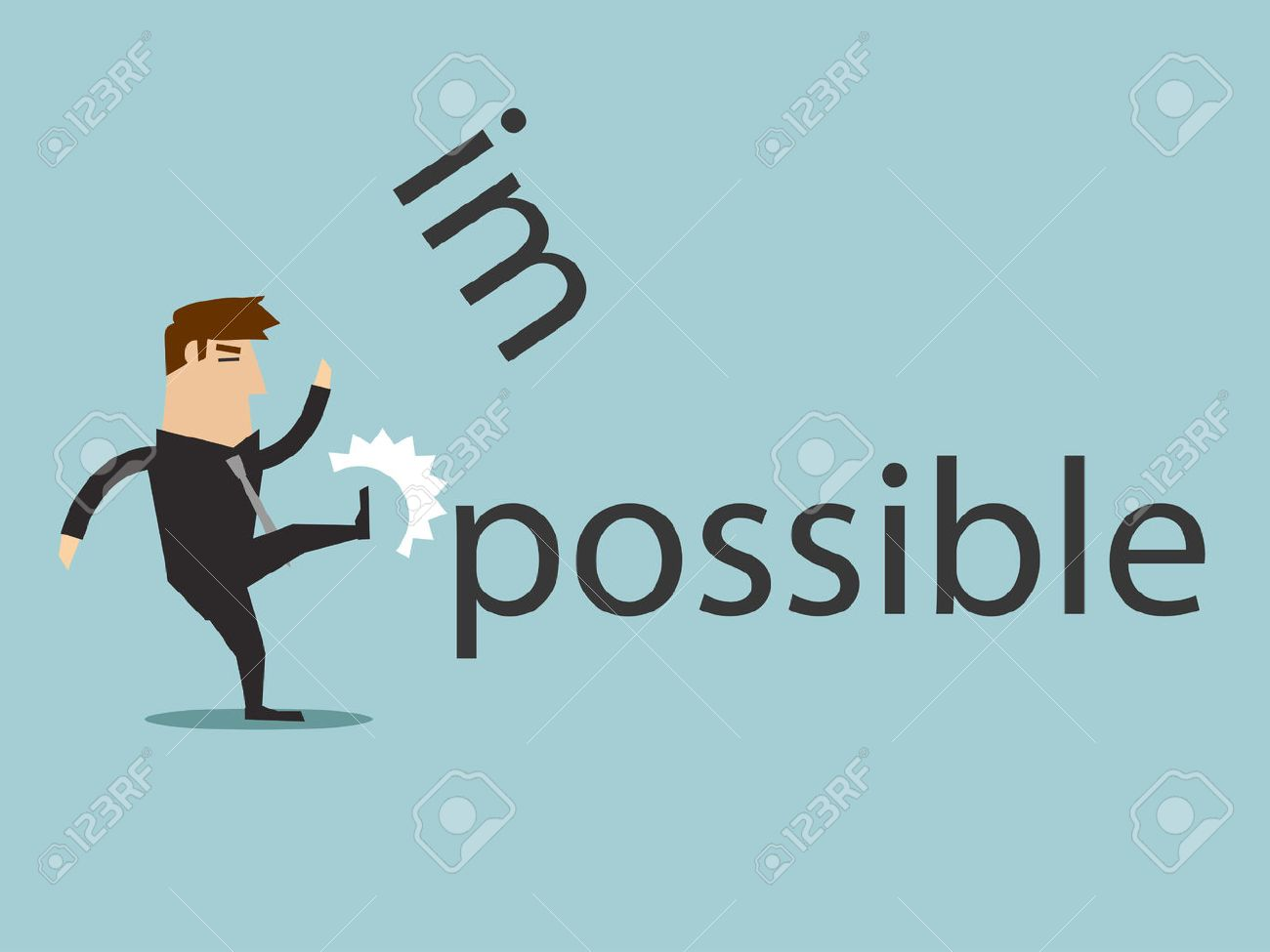 Changing the word impossible to possible by kick, vector graphic - 52435735