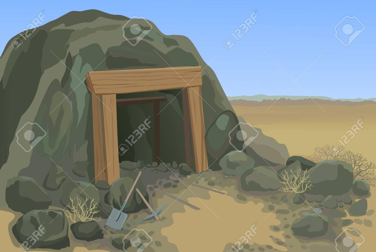 Old mine desert landscape vector illustration - 52897251