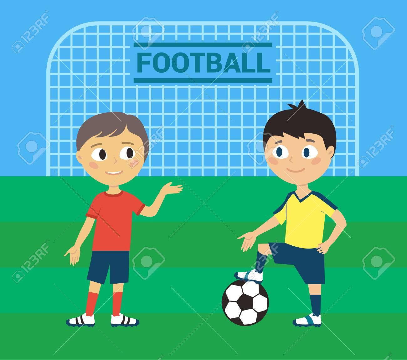 Ilustracion De Ninos Jugando Futbol O Futbol Ilustraciones
