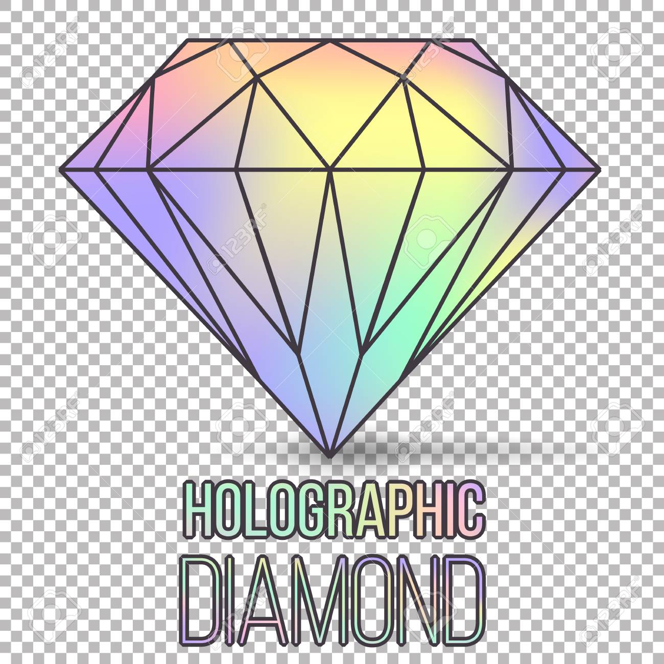Vector holographic gradient diamond stone isolated on transparent stock photo vector holographic gradient diamond stone isolated on transparent background can be used as template for cover presentation brochure easy maxwellsz