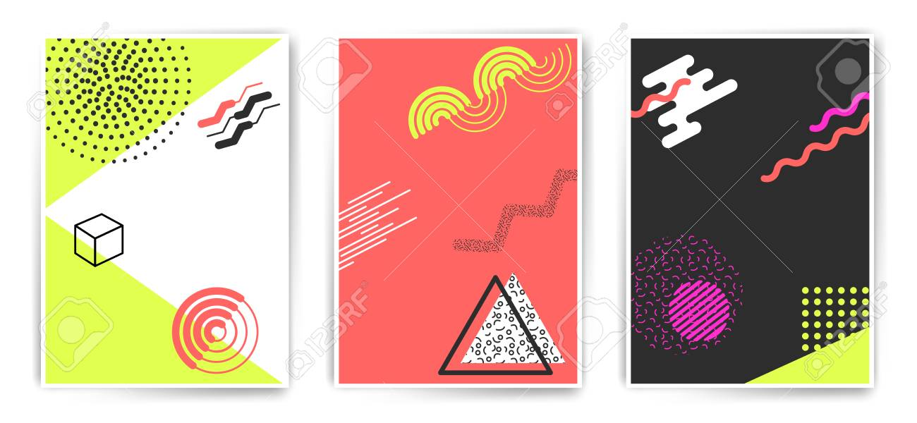 set of vector simple shapes minimalistic abstract poster templates