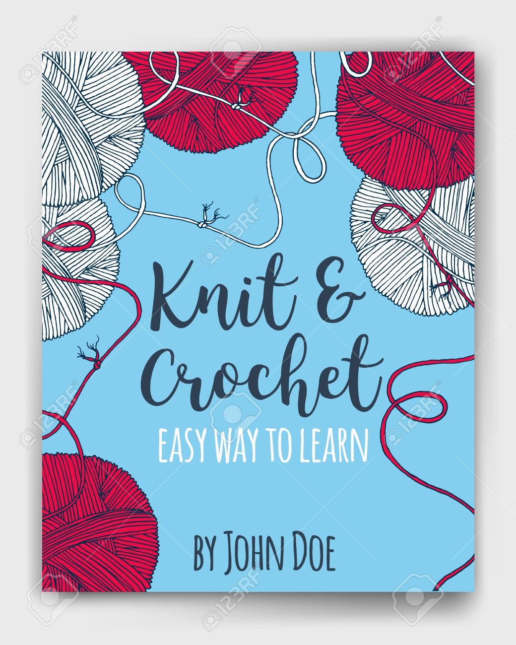 Book Cover Knitting Pattern ~ Vector yarn balls book cover mock up for knit and crochet classes