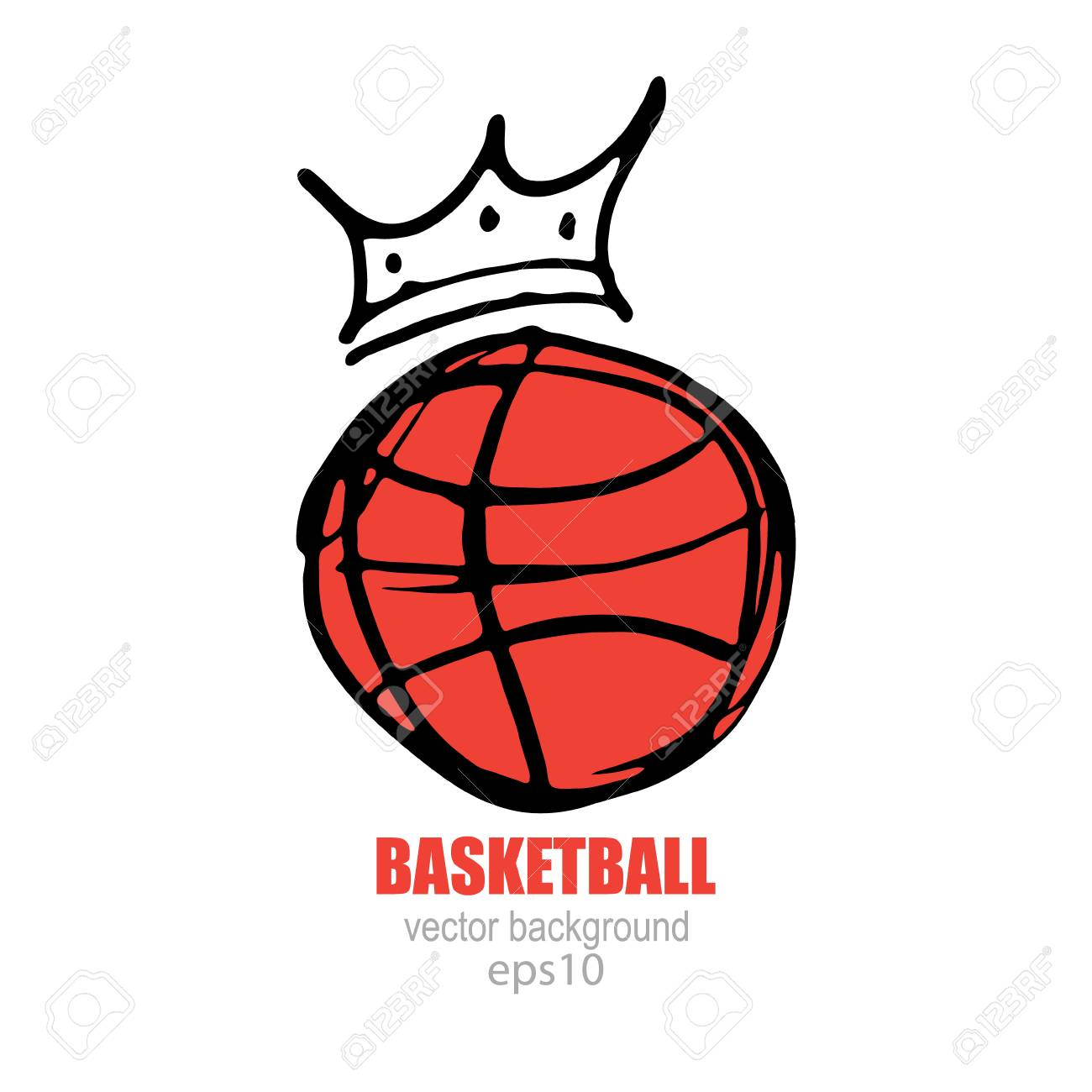 5ea612e48f Balón de baloncesto con una corona. Ilustración del vector, estilo de  dibujo. Icono