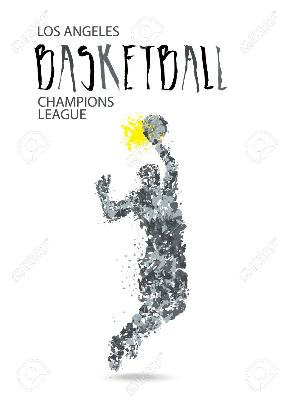 Vector Drawing Of A Basketball. Template Poster For Sport Tournament ...