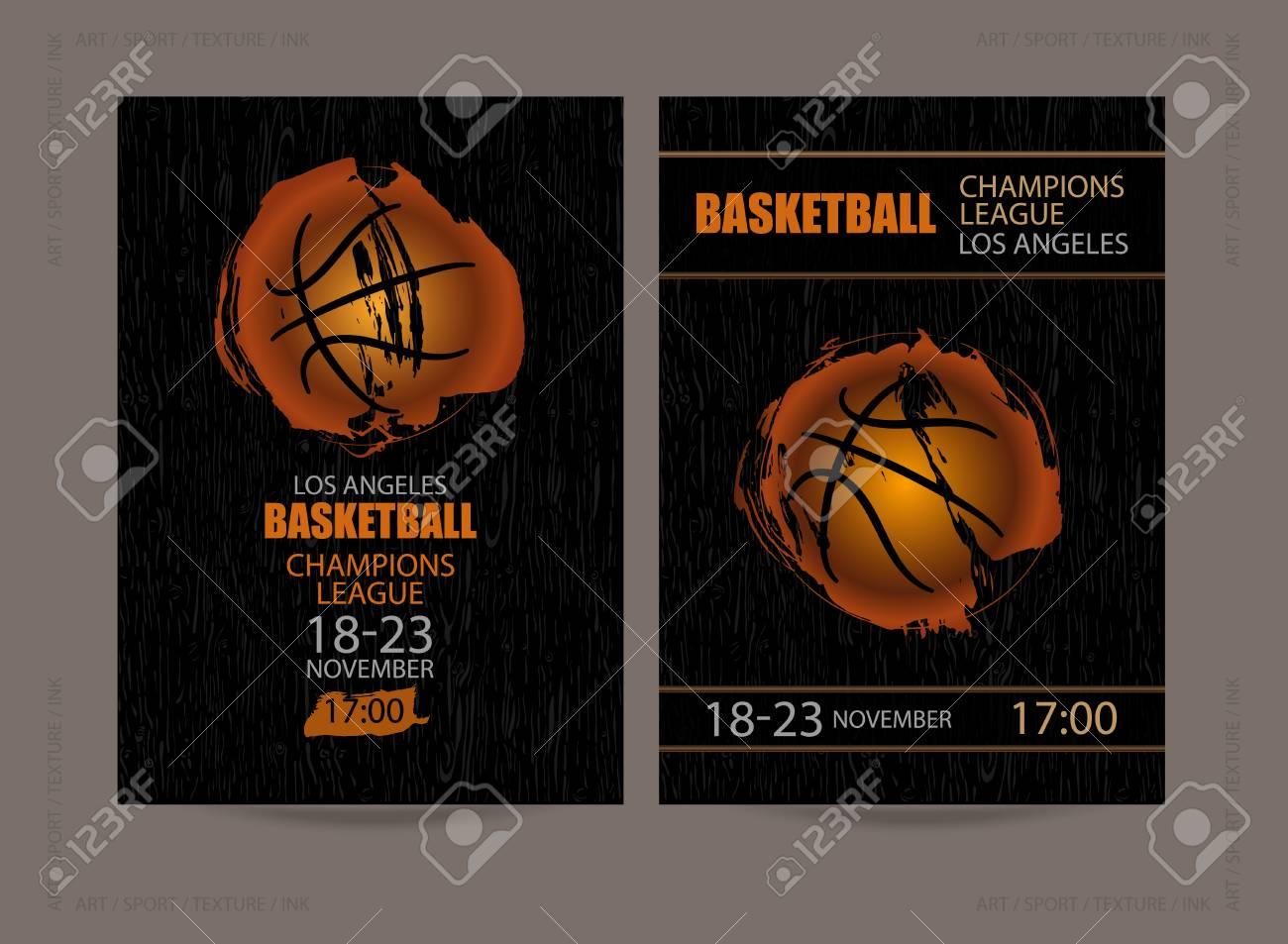 Entwerfen Sie Für Basketball Auf Einem Hölzernen Schwarzen ...