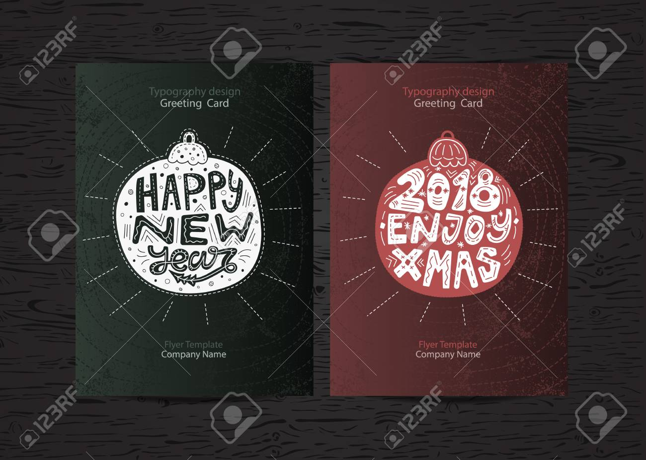 New Year Brochure Template | Set Christmas Holiday Greeting Card Design 2018 New Year Flyer