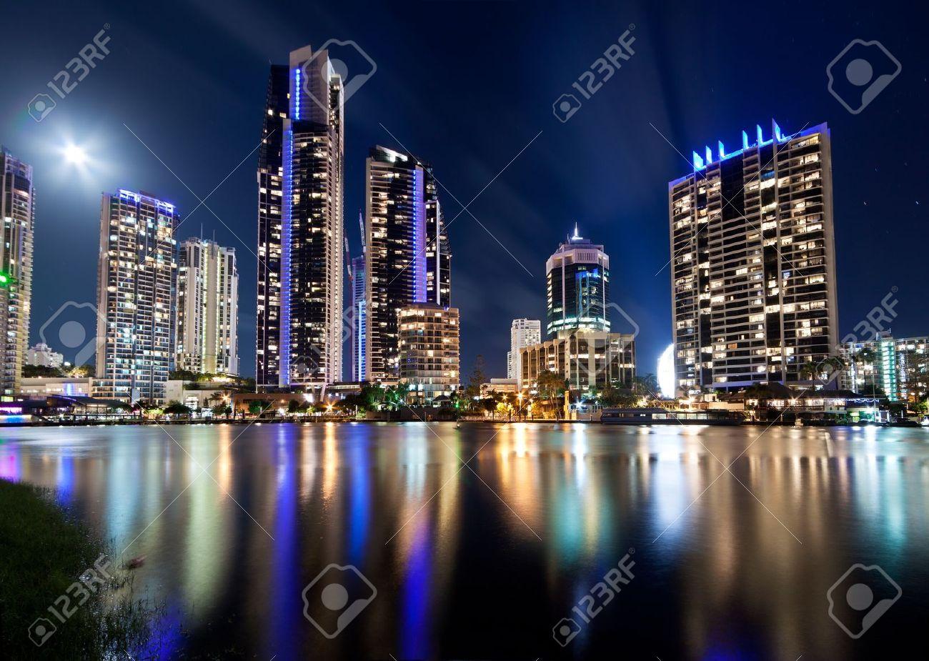 australian modern city at night (gold coast) queensland Stock Photo - 8671604