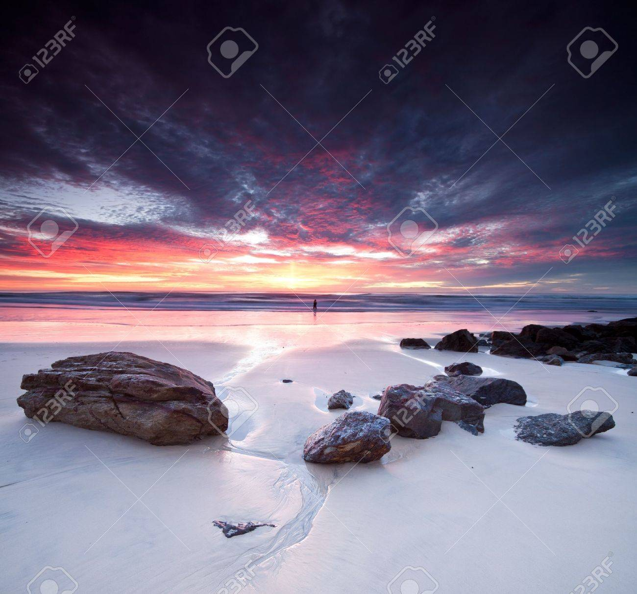 australian seascape at dawn with rocks in foreground (miami beach, queensland, australia) Stock Photo - 9881506