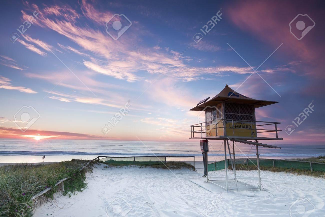 Lifeguard Hut On Australian Beach At Sunrise With Interesting