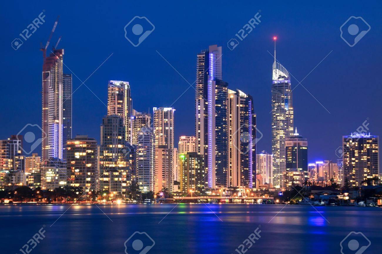 view on surfers paradise at night (gold coast, qld, australia) - 14342386