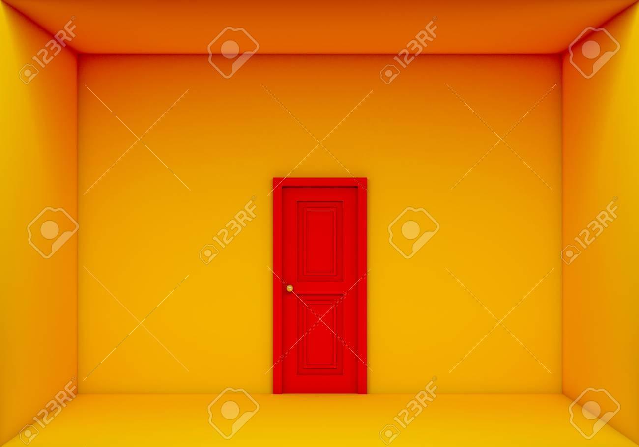Seule Porte Rouge Fermée Sur La Chambre Jaune Banque D\'Images Et ...