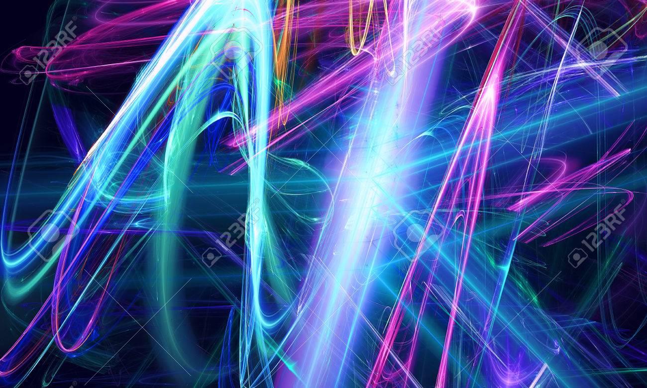Schöne Neon Dunklen Hintergrund. Fractal-Art-Muster Für Tapeten ...