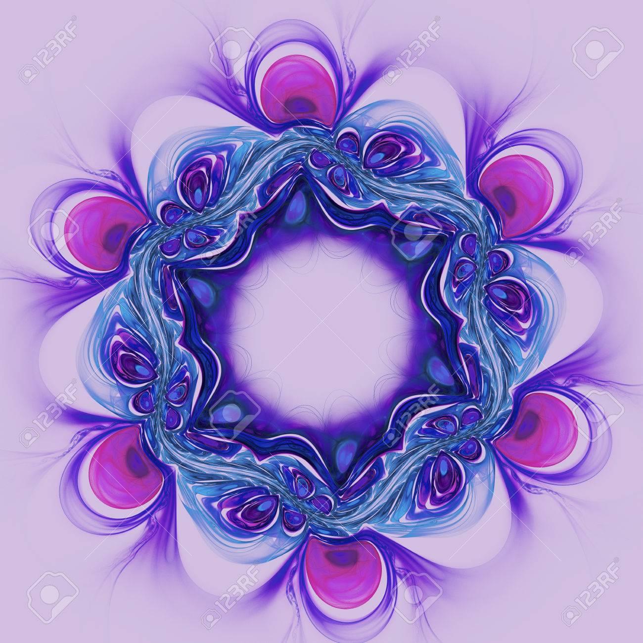 Abstrakt Vilet Blume Auf Lila Hintergrund. Fractal-Grafik Für ...