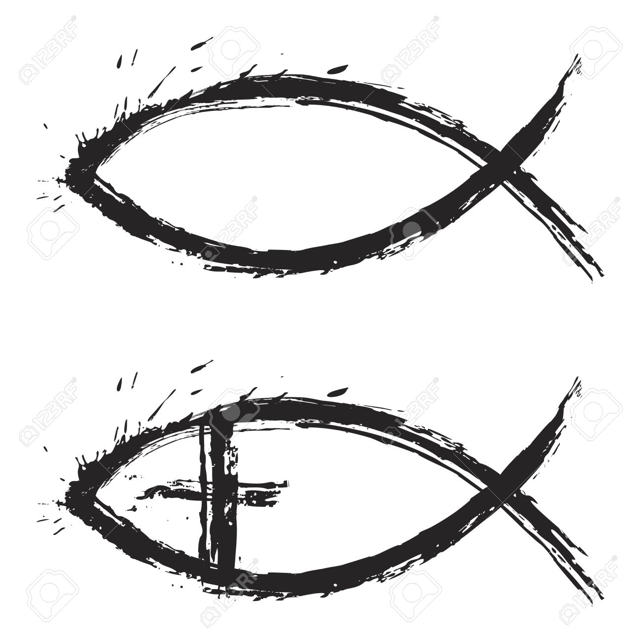 Christian religion symbol fish created in grunge style Stock Vector - 10129405
