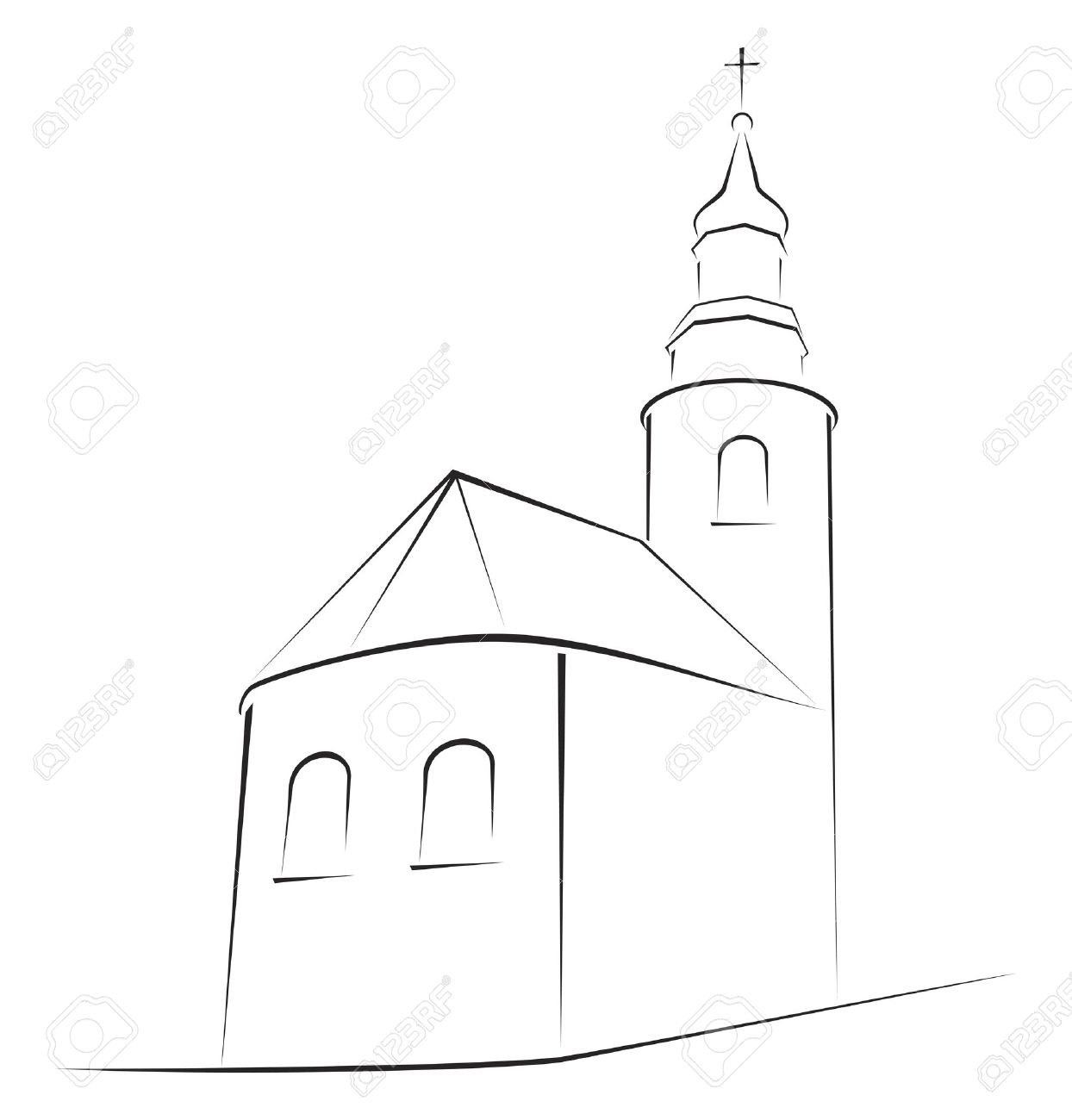 structure of church on simple sketch royalty free cliparts