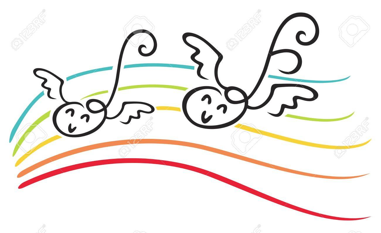 Happy notes with wings on music lines Stock Vector - 10943990