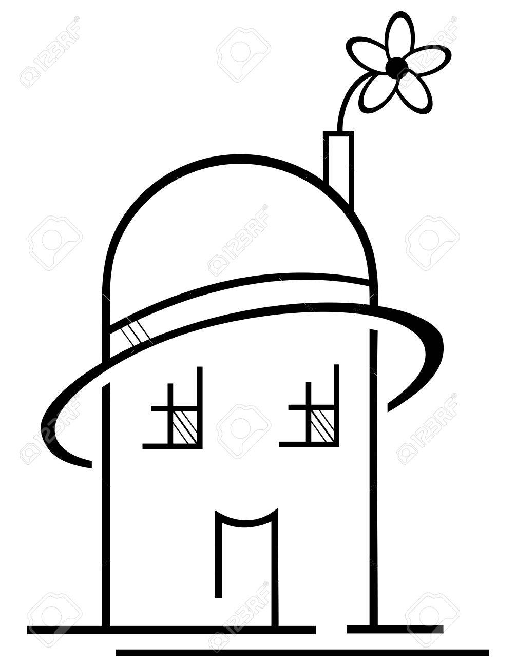 Concept of ecological house with hat and flower Stock Vector - 11341337