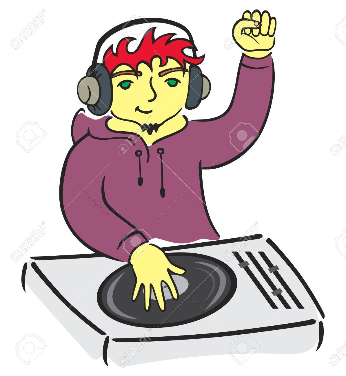 DJ behind console Stock Vector - 11641188