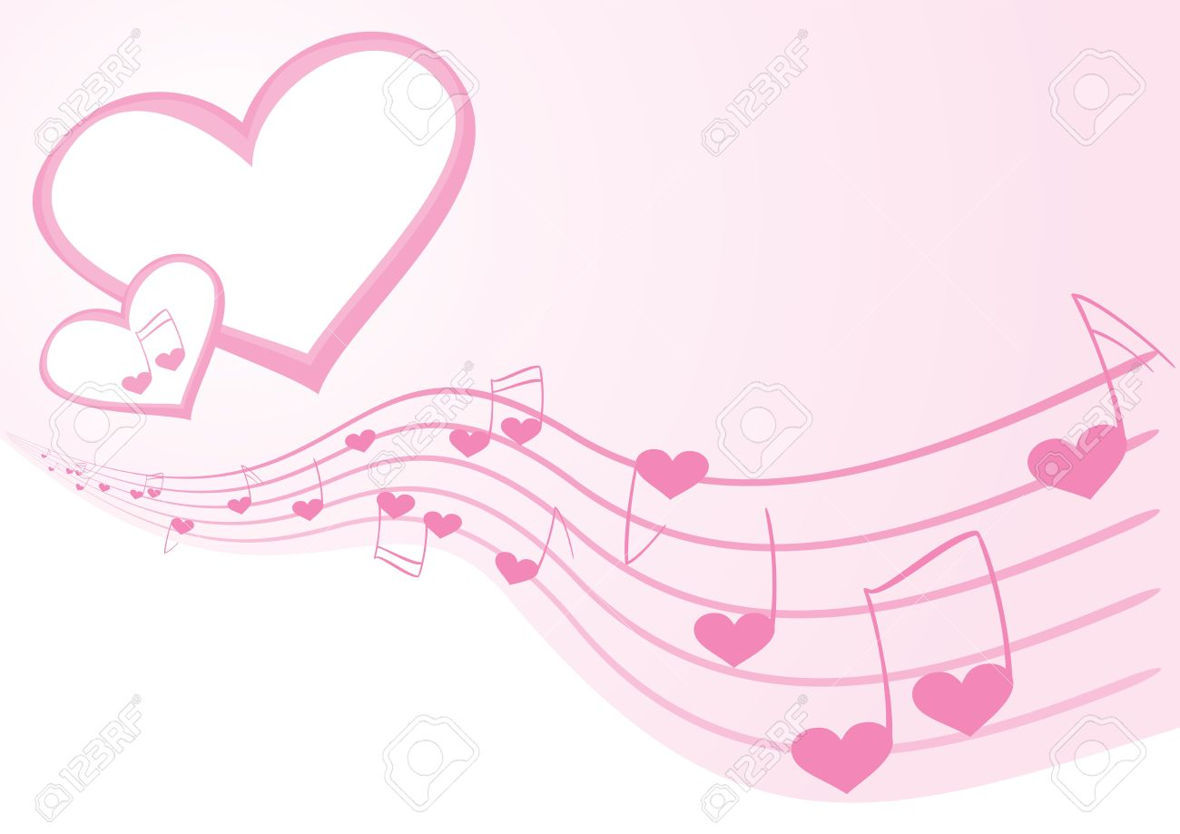 Clip Art Line Of Hearts : Pink background with music notes and hearts royalty free cliparts