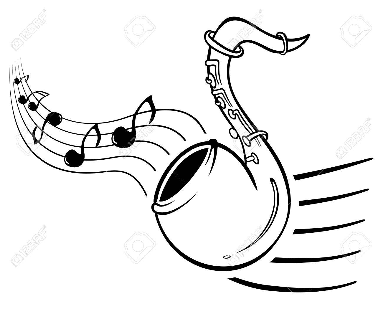 Design with music notes and sax on illustration Stock Vector - 13944085